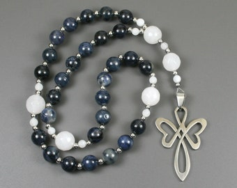 Anglican rosary in dumortierite and snow quartz with a stainless steel cross, Christian prayer beads, dumortierite rosary, stone rosary