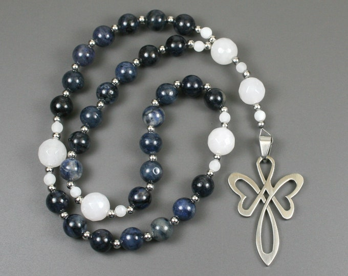 Anglican rosary in dumortierite and snow quartz with a stainless steel cross