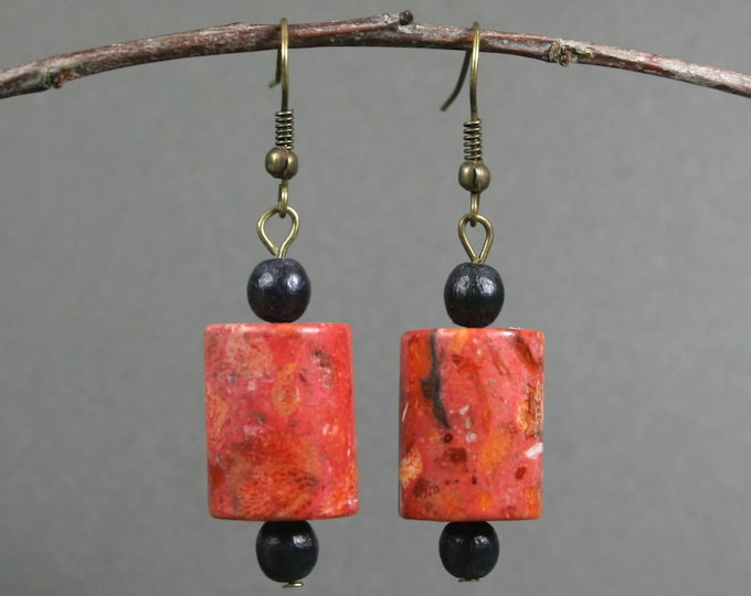 Sponge coral and black wood dangle earrings with antiqued brass ear wires