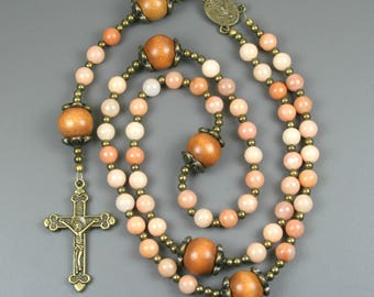 Red aventurine, wood, and antiqued brass rosary in the Roman Catholic style, stone rosary, red aventurine rosary, peach rosary
