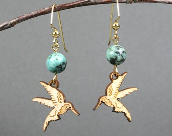 Maple wood hummingbird earrings with African turquoise on gold plated ear wires