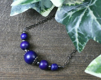 Cobalt blue wood and gunmetal chain necklace, choker necklace