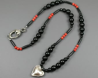 Hill Tribes fine silver puffed heart pendant on strand of obsidian, black bone, and bamboo coral, obsidian necklace, heart jewelry