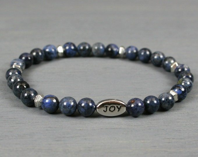 Dumortierite stacking stretch bracelet with an antiqued rhodium plated pewter JOY bead and antiqued silver plated spacers