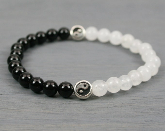 Snow quartz and black onyx stacking stretch bracelet with silver Yin Yang focal beads
