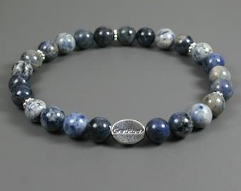 Flower dumortierite gratitude bead bracelet with sterling silver gratitude bead
