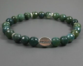 Moss agate gratitude bead bracelet with sterling silver gratitude bead
