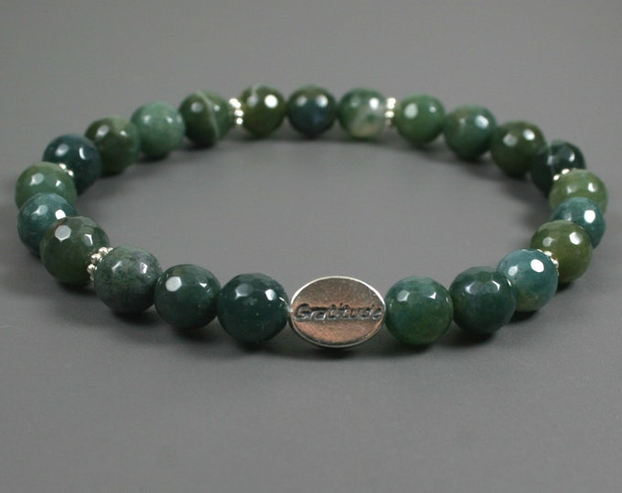 Moss agate gratitude bead bracelet with sterling silver gratitude bead