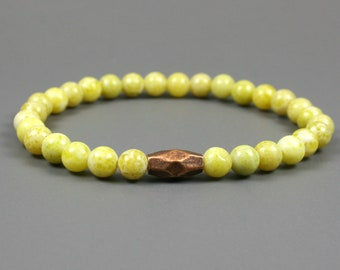 "New olive ""jade"" stacking stretch bracelet with antiqued copper faceted double cone accent, yellow bracelet, stone bracelet, copper bracelet"