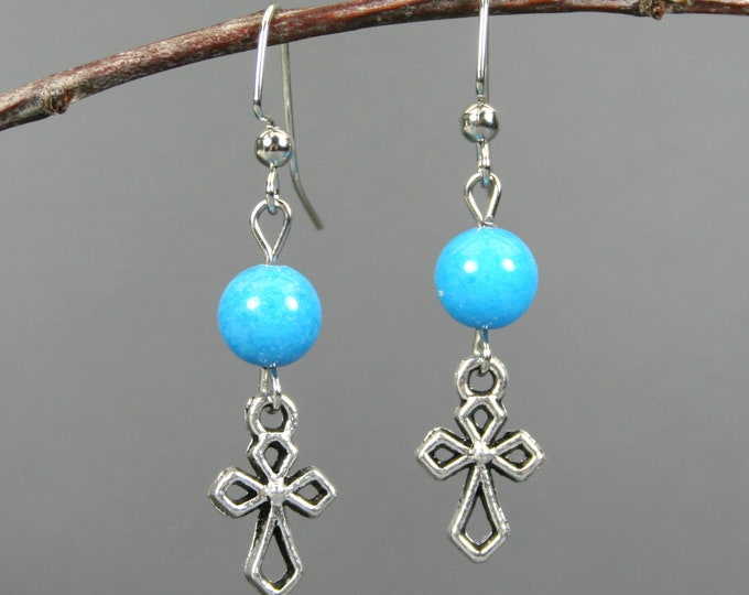 Silver plated cross earrings with turquoise magnesite on silver plated ear wires