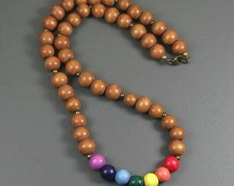 Rainbow wood bead necklace, LGBT pride necklace, GLBT pride necklace, chakra necklace
