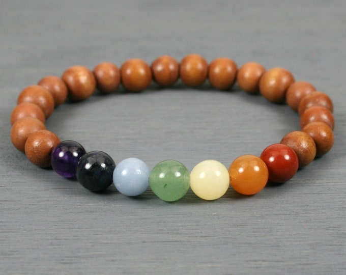 Rainbow stone bead stretch stacking bracelet with brown wood beads