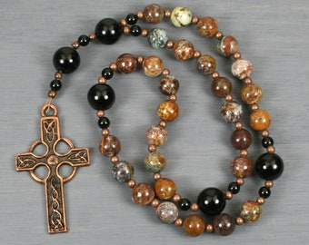 Anglican rosary in green opal and obsidian with an antiqued copper Celtic cross
