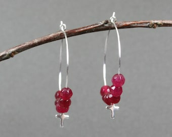 Dark pink faceted agate and tiny silver plated crosses silver plated hoop ear wires