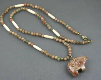Autumn jasper bear pendant on strand of autumn jasper and antiqued bone