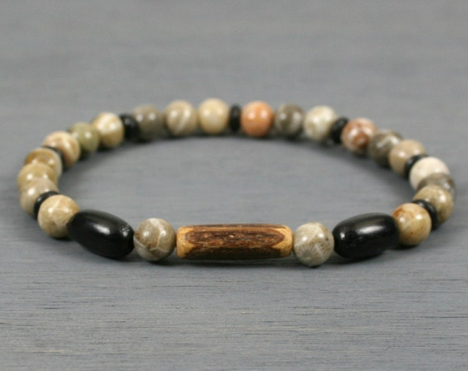 Fossil coral stretch bracelet with coconut shell and black horn and bone accents