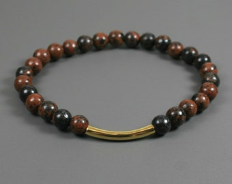 Mahogany obsidian stacking stretch bracelet with an antiqued gold plated curved tube accent bead
