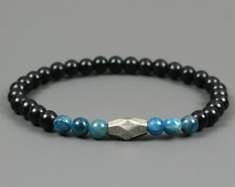 Blue apatite and obsidian stacking stretch bracelet with an antiqued silver plated focal bead, obsidian bracelet, apatite bracelet