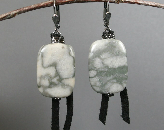 Grey zebra stone and black suede lace on gunmetal plated leverback earrings