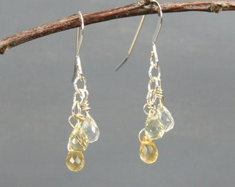 Citrine, lemon quartz, and crystal quartz stone briolette dangle earrings