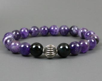 Banded amethyst and rainbow obsidian stacking stretch bracelet with antiqued sterling silver corrugated accent bead, amethyst bracelet