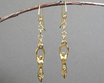 Antiqued gold goddess dangle earrings, goddess earrings, gold earrings