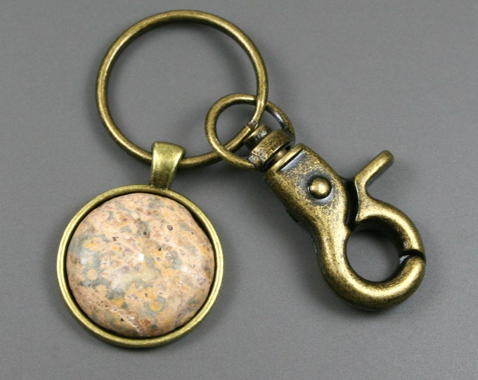 Leopardskin jasper key chain in antiqued brass setting with swivel lobster claw
