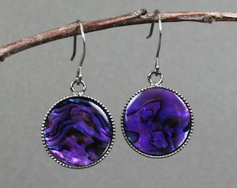 Purple paua shell earrings in gunmetal plated bezels on gunmetal plated ear wires