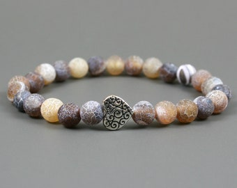 Frosted crackle agate stacking stretch bracelet with a heart scroll focal bead