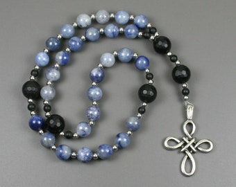 Anglican rosary in blue aventurine and black onyx with an antiqued pewter woven cross, Christian prayer beads, blue rosary, stone rosary