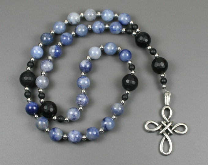 Anglican rosary in blue aventurine and black onyx with an antiqued pewter woven cross