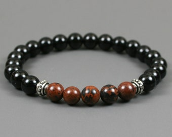 Mahogany obsidian and obsidian stacking stretch bracelet with antiqued silver plated beaded spacers