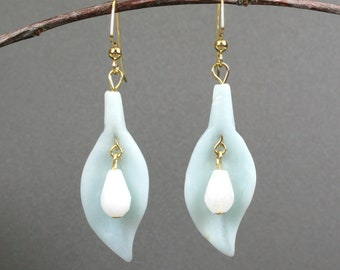 Amazonite leaf-shaped earrings with snow quartz faceted teardrops on gold plated ear wires