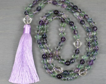 Rainbow fluorite and crystal quartz hand knotted mala in the Tibetan style with a silk tassel