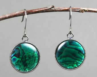Green paua shell earrings in gunmetal plated bezels on gunmetal plated ear wires