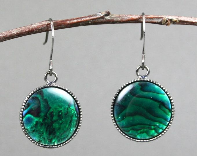 Green paua shell earrings in gunmetal plated bezels on gunmetal plated ear wires