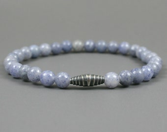 Blue aventurine stacking stretch bracelet with a gunmetal plated wrapped focal bead, blue aventurine bracelet, blue bracelet, stone bracelet