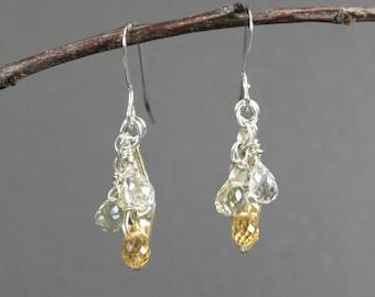 Citrine, lemon quartz, and crystal quartz stone briolettes with sterling silver marquis dangle earrings, November birthstone