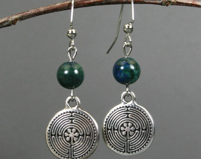 Antiqued silver plated labyrinth dangle earrings with azurite beads