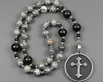 Anglican rosary in silver crazy lace agate and obsidian with an antiqued pewter cross in a circle, stone rosary, gray and black rosary