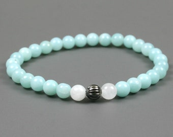 Amazonite stacking stretch bracelet with snow quartz and a fluted gunmetal plated focal bead