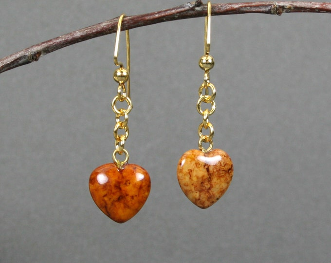 Brown riverstone heart dangle earrings on gold plated ear wires