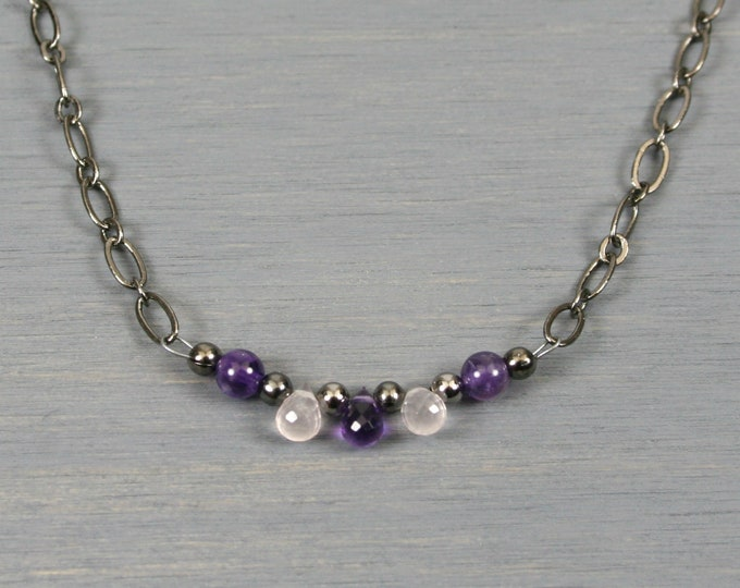 Amethyst and rose quartz briolette necklace with amethyst and gunmetal accents on gunmetal plated chain