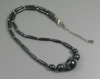 Black wood and black bone hairpipe necklace with gunmetal accents