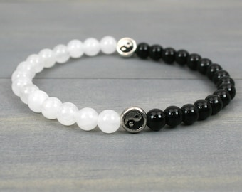 Snow quartz and obsidian stacking stretch bracelet with silver Yin Yang focal beads, black and white bracelet, Yin Yang bracelet