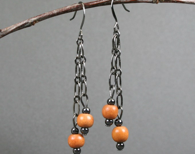 Light brown wood and gunmetal dangle earrings