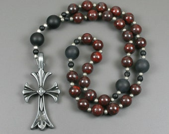 Anglican rosary in brecciated jasper and black onyx with an antiqued pewter cross, dark red rosary, stone rosary, protestant rosary