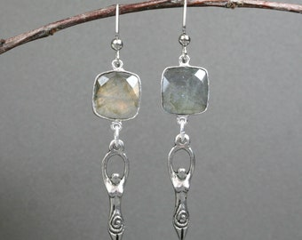 Labradorite and antiqued pewter goddess dangle earrings, goddess earrings, labradorite earrings