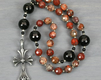 Anglican rosary in poppy jasper, black onyx and an antiqued pewter cross