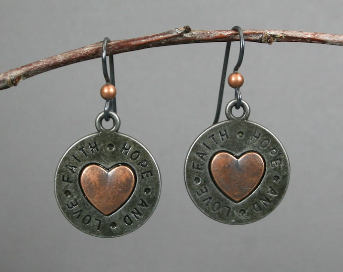 Faith, hope and love earrings in gunmetal and antiqued copper on niobium ear wires